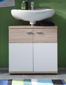 Waschbeckenunterschrank Campus in Eiche San Remo hell und weiß Badschrank 60 x 65 cm