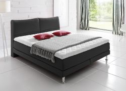 Boxspringbett Culture anthrazit 140 x 200 cm Mini Bonell / 7 Zonen Multi Tonnentaschenfederkern Matratze