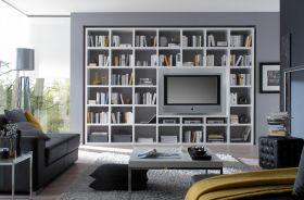 Wohnwand Bücherwand Dekor Lack weiß Hochglanz mit TV-Fach