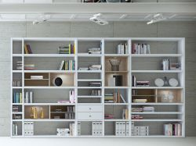 Wohnwand Bücherwand Dekor Lack weiß Hochglanz Eiche Natur LED-Beleuchtung Breite 385 cm