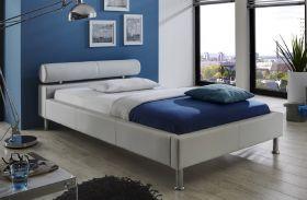 Einzelbett Polsterbett Ornella Leder Optik weiß 100 x 200 cm Kopfteil versch. Farben