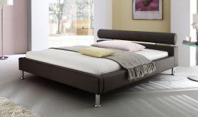 Doppelbett Polsterbett Ornella Leder Optik braun 160 x 200 cm Kopfteil versch. Farben