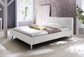 Einzelbett Polsterbett Randy Leder Optik weiß 160 x 200 cm