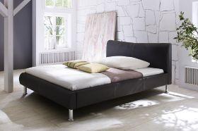 Doppelbett Polsterbett Randy Leder Optik schwarz Nähte weiß 160 x 200 cm