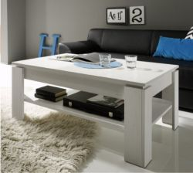 Couchtisch in Anderson Pinie weiß Struktur 110 x 65 cm Holztisch mit Ablage