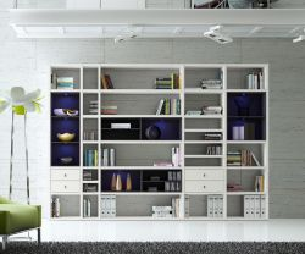 Wohnwand Bücherwand MDor Dekor Lack weiß matt schwarz LED-Beleuchtung Breite 311 cm