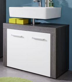 Waschbeckenunterschrank Miami weiß, Sardegna grau (72 x 56 cm)