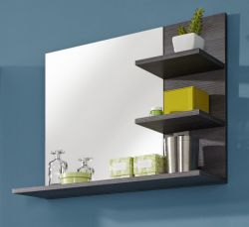 Badezimmer Bad Spiegel Miami Sardegna Rauchsilber grau Wandspiegel mit Ablagen 70 cm