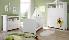 Babyzimmer Olivia in weiß komplett Set 3-teilig mit Wickelkommode Kleiderschrank und Babybett