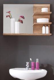 Bad Spiegel mit Regal in Nussbaum Satin Badezimmer Wandspiegel Cancun 72 x 57 cm