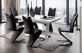 Essgruppe Tisch Manhattan Hochglanz weiß 6 x Schwingstuhl schwarz Amado