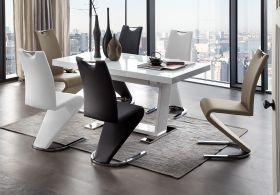 Essgruppe Tisch Manhattan weiß Hochglanz 6 x Schwingstuhl Amado verschiedenfarbig