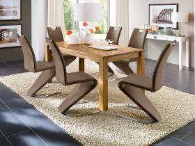 Essgruppe Tisch Paul Kernbuche massiv 6 x Stuhl Amado cappuccino