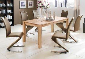 Essgruppe Tisch Peter Kernbuche massiv 6x Schwingstuhl Amado cappuccino