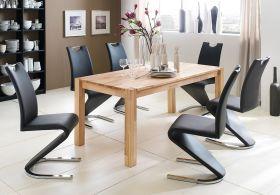 Essgruppe Tisch Peter Kernbuche massiv 6x Schwingstuhl Amado schwarz