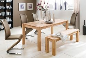 Tischgruppe Tisch und Sitzbank Peter Kernbuche massiv 4 x Stuhl Amado