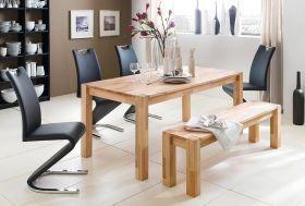 Tischgruppe Tisch und Sitzbank Peter Kernbuche Massivholz 4 x Stuhl Amado