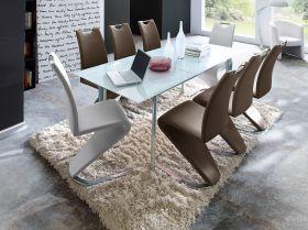 Essgruppe Tisch Plaza weiß 8 x Stuhl Amado