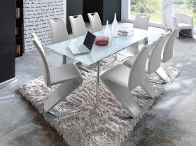 Essgruppe Tisch Plaza weiß 8 x Stuhl Amado weiß