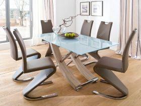Essgruppe Tisch Samoa weiß lackiert 6 x Stuhl Amado