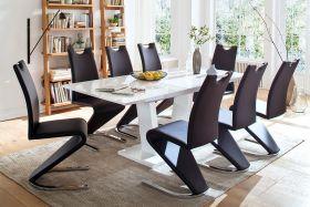 Tischgruppe Ausziehtisch Tirso Hochglanz weiß lackiert 8 x Stuhl Amado schwarz