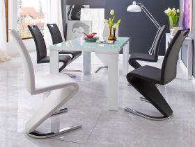 Essgruppe Tisch Tizio Hochglanz weiß 6 x Schwingstuhl Amado