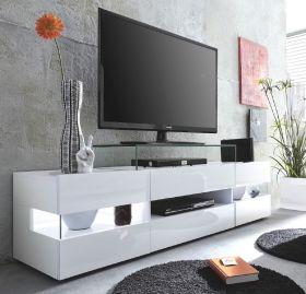 Wohnzimmer: TV-Lowboard Sonic Glanz weiß (169 x 43 cm) inkl. Panorama-Vitrinen