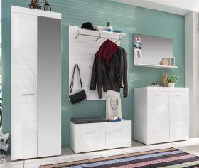 Garderobe Amanda Set 5 teilig weiß Hochglanz Flurgarderobe mit Sitzbank 260 cm