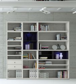 Wohnwand Bücherwand MDor Dekor Lack weiß matt schwarz LED-Beleuchtung Breite 241 cm