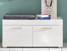 Garderobe Amanda Sitzbank in weiß Hochglanz mit Stauraum 91 x 38 cm
