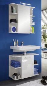 Badmöbel Set Waschbeckenunterschrank und Spiegelschrank Key weiß Hochglanz