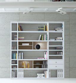 Wohnwand Bücherwand Dekor Lack weiß Hochglanz Eiche Natur LED-Beleuchtung Breite 207 cm