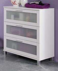Badezimmer: Kommode Florida weiß, Glas satiniert (70x89 cm)