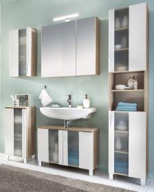 Badmöbel Set Porto in weiß und Eiche sägerau Badkombination 5-teilig