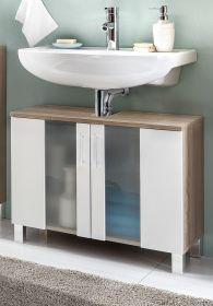 Badezimmer Waschbeckenunterschrank Porto in weiß und Eiche sägerau hell Badmöbel mit Glas satiniert 65 x 54 cm