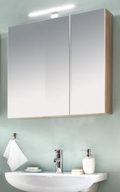 Badezimmer Spiegelschrank Porto in weiß und Eiche sägerau hell Badschrank optional mit LED Spiegellampe 65 x 70 cm