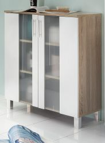 Badezimmer Kommode Porto in weiß und Eiche sägerau hell Badmöbel mit Glas satiniert 65 x 80 cm Badschrank