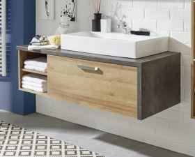 Waschbeckenunterschrank Bay Eiche Riviera, Beton grau (123 x 39 cm) optional mit Waschbecken