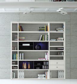 Wohnwand Bücherwand MDor Dekor Lack weiß matt schwarz LED-Beleuchtung Breite 207 cm