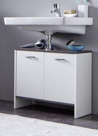 Badmöbel Waschbeckenunterschrank California in weiß und Sardegna grau Rauchsilber Badezimmer 60 x 55 cm Badschrank