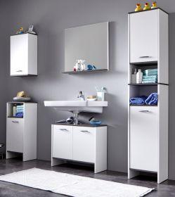 Badmöbel komplett Set California weiß und Sardegna grau / Rauchsilber mit Spiegel 5-teilig