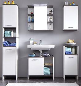 Badmöbel komplett Set California weiß und Sardegna grau / Rauchsilber mit Spiegelschrank 5-teilig