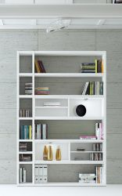 Wohnwand Bücherwand Dekor Lack weiß Hochglanz LED-Beleuchtung Breite 147 cm