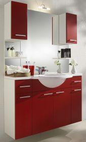 Badmöbel Set in weiß und rot mit Waschbecken und Beleuchtung 110 cm Adola