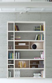 Wohnwand Bücherwand MDor Dekor Lack weiß matt Eiche Natur LED-Beleuchtung Breite 147 cm