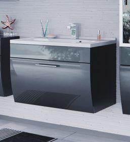 Badmöbel Waschplatz inkl. Waschbecken und Schubfach in Anthrazit Hochglanz Salona