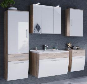 Badmöbel Set Salona weiß Hochglanz und Sonoma Eiche, 5-teilig (170x135 cm) inkl. Waschbecken und Beleuchtung