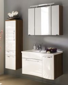 Badmöbel Set Laonda inkl. Waschbecken und Beleuchtung in Walnuss-weiß Hochglanz 3-teilig