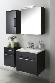 Badmöbel Set Laonda inkl. Waschbecken und Beleuchtung in Anthrazit Hochglanz 4-teilig
