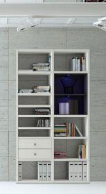 Wohnwand Bücherwand MDor Dekor Lack weiß matt schwarz LED-Beleuchtung Breite 122 cm